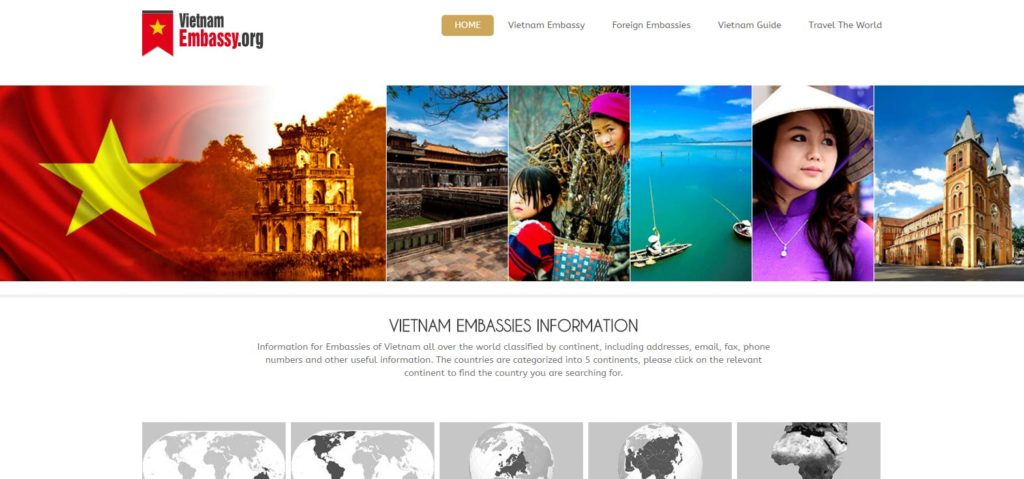contact information of Vietnam embassies all over the world